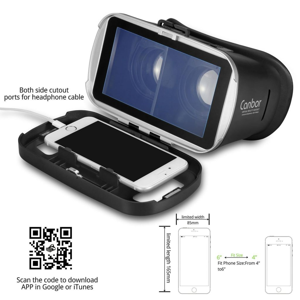 Canbor VR Headset Cmpatible with iPhone Android